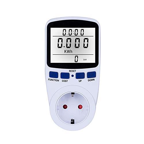 Decdeal Stromzähler Steckdose LCD Anzeige Stromverbrauch Leistungszähler Buchse Energie Watt Volt Ampere Leistung KWH Verbrauch Analysator Monitorausgang AC230V ~ 250V
