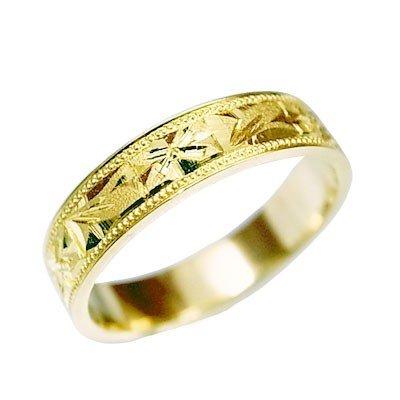 K18 指輪 鍛造(たんぞう) 平打(ひらうち)違い葉オレンジ彫リング巾4mm4g ゴールドリング 彫金 マリッジ 結婚 記念日 プレゼント オリジナル(9号)