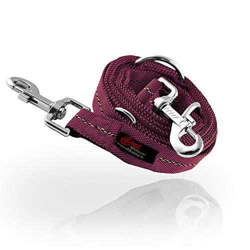 Effaband – Hundeleine - Made in Germany/längenvariable & reflektierende Hundeleinen mit nickelfreien Karabinern / 1m-2m Kurzleine, 3m Führleine und bis 50m Schleppleine in Rot & Purple (3m, Purple)