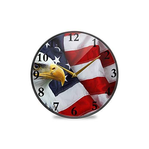 Runde Wanduhr mit amerikanischer Flagge und Adler, dekorative Uhr, moderne Uhr, batteriebetrieben, geeignet für Esszimmer, Küche, Büro, Klassenzimmer, plastik, multi, 11.9x11.9in