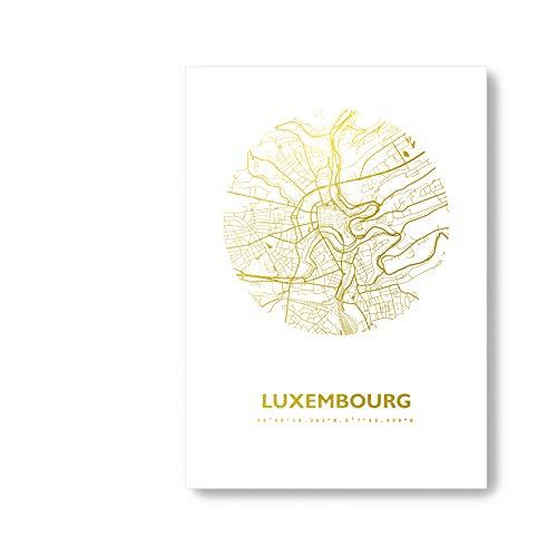Luxemburg Luxemburg Karte - Personaliserte Stadtplan Poster Rund in S/W Rose Gold Silber Kupfer - A4 A3 - Stilsichere Wandbilder Geschenke Arbeitszimmer Wohnzimmer Andenken Heimatstadt