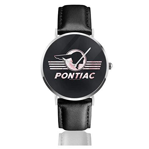 Pontiac orologio da polso sportivo impermeabile al quarzo 38 mm per il tempo libero con cinturino in pelle nera