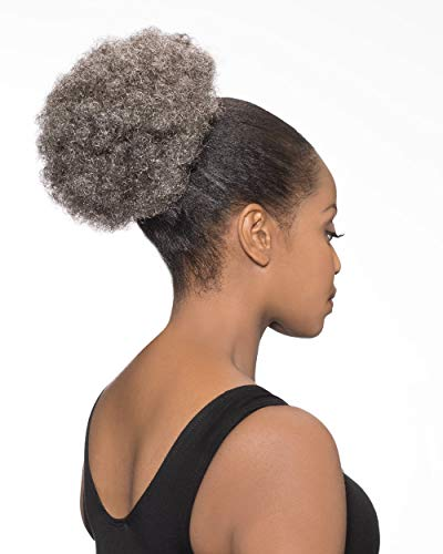 DS007 Ponytail Color 34 Dark Brown Gray - Foxy Silver Wigs Drawstring Poof Hairpiece Clip On Short Afro Synthetic African American Womens Bundle MaxWigs Hairloss Booklet