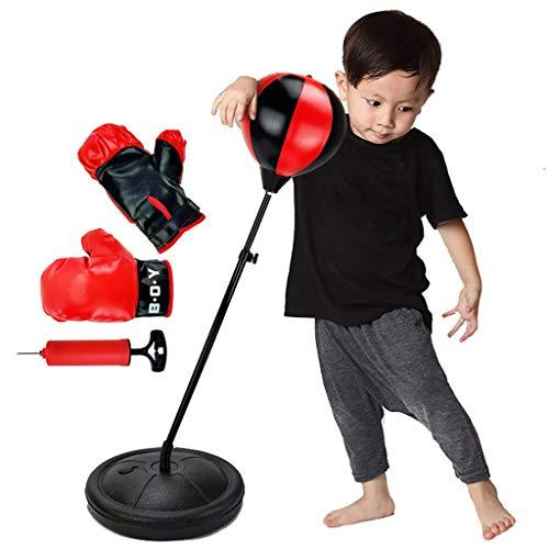 Luccase Punching-Ball Set Rot Punchingball Boxen mit Boxhandschuhe und Pumpe Boxsack Boxball für Kinder Verstellbar für Kinder von 3 bis 6 Jahren