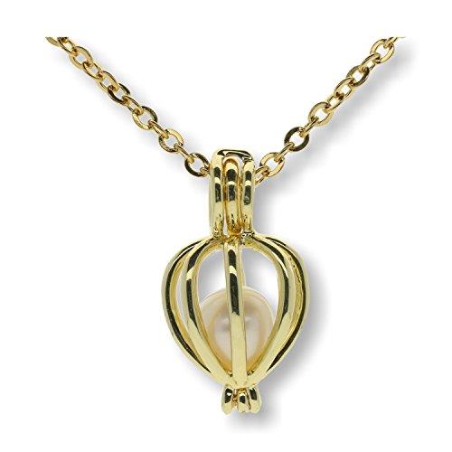 Pearlina - Juego de collar de perlas cultivadas en ostra, chapado en oro con cadena de acero inoxidable, 45,72 cm
