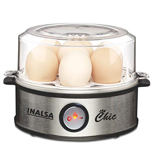 Inalsa Chic Instant Egg Boiler, 360 Watts, Steel Base, Food Grade BPA Free Lid, 1-7 Eggs, Double Safety, Adjustable degree of hardness, Indicator Light, Water Measuring Cup, (Black/Silver)
