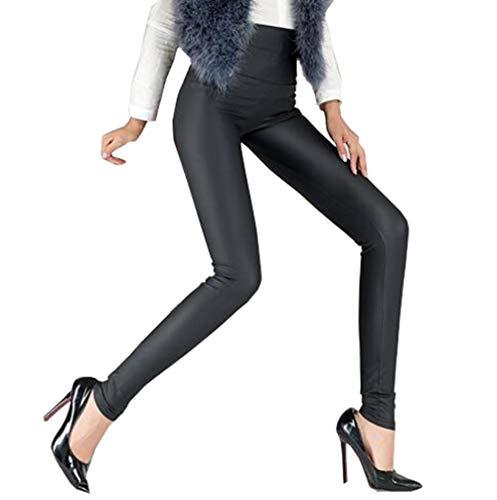 Cayuan Leggins de PU Cuero Mujeres Cintura Alta Delgados Elástico Pantalón Sexy Imitación Cuero Pantalones
