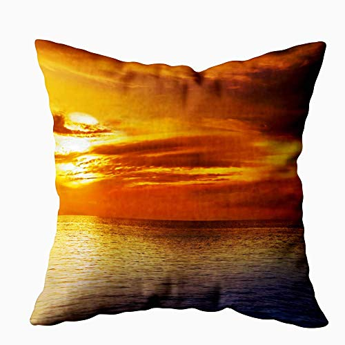 Gypsophila Comfort Pillow Cover, Pack of 2 Pillow Cases,Seasonal Sunset Beautiful Sunset Black Sea Gold Sea Background Amazing Picture Waves Summer 18X18Inch Decorative Pillowcases for Boys Girls
