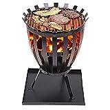 CRZJ Feuerkorb, Stahl Brazier Außen Garten Heizpilz Feuer Brennen Log Holzofen Korb BBQ Grill Aschenbecher, Feuerstelle im Freien