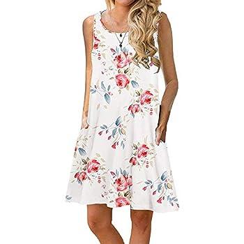 Sherosa Summer Tank Dresses for Women Beach Sleeveless Swing Dresses  M White