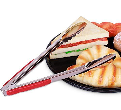 JANRON Küchen- und Grillzange, Kochzange für beschichtete und unbeschichtete Pfannen, Cromargan Edelstahl poliert, Kunststoff, Länge mit stabilem Edelstahlgriff - Rot (23CM / 29CM / 34CM)