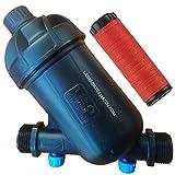 Suinga FILTRO de ANILLAS 3/4' ALTA CALIDAD. Capacidad de filtrado 120 Mesh. Utilizado en instalaciones de riego y RIEGO POR GOTEO. Rosca macho 3/4' para acoplar a TUBERIA 25mm