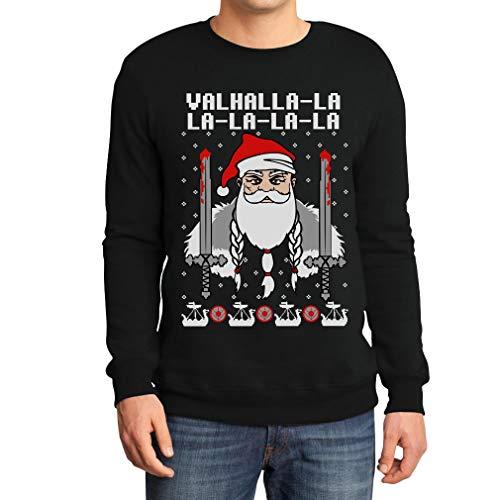 Ugly Xmas Herren Pullover Valhalla-La Wikinger Santa Sweatshirt XX-Large Schwarz