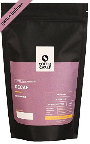 Coffee Circle | Premium Kaffee Decaf | 350g ganze Bohne | Entkoffeinierter Filterkaffee mit süßlicher Note | 100% Arabica | fair & direkt gehandelt | frisch & schonend geröstet