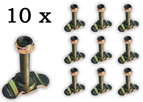 10 x Single Schraubfitting f. Airlineschiene M8x45 500 daN Endbeschlag Endfitting