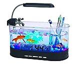 ShawnBlue Tanques de Peces Circular Mini Desktop Fish Tank USB Fish Tank Pet Fish Tank Acuario (Color : Black)