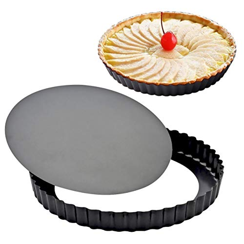 Attmu 2 Pack 9 Inches Non-Stick Tart Pan with Removable Loose Bottom, Pie, Round Quiche, 9""