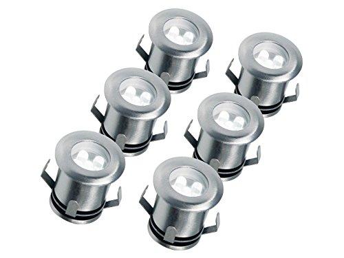 Preisvergleich Produktbild 6er Set LED Bodeneinbaustrahler Edelstahl Ø 3cm Bodeneinbauleuchten Gamma 199791
