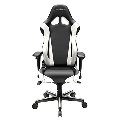 DXRacer OH/RV001/NW Racing Series Black and White Gaming Chair - Includes 2 Free Cushions