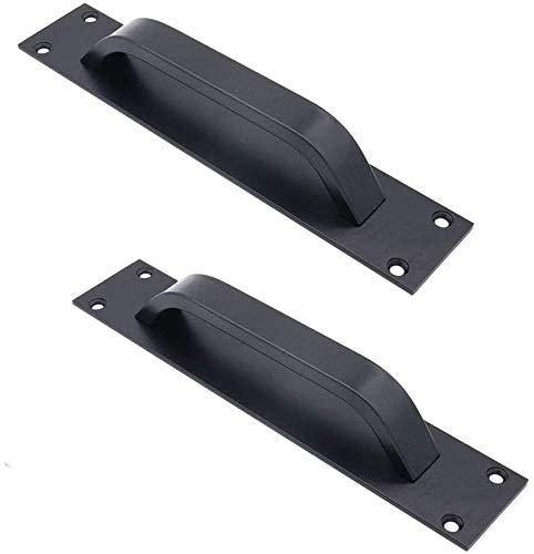 2pcs Poignée de porte de grange en alliag de zinc -poignées de porte coulissante pour porte coupe-feu, poignées de porte d'armoire (noir)