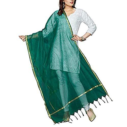 Way2like Women Art Silk Dupatta Zari Work Border Plain Scarf Slote Fancy Wrap Chunni Party Wear