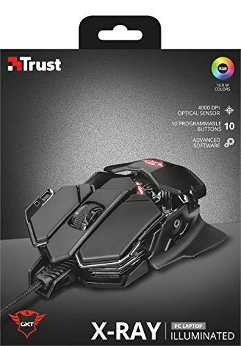 Trust GXT 138 X-Ray Gaming Maus (4.000 dpi-Sensor, 10 programmierbare Tasten, anpassbare RGB-Beleuchtung) schwarz