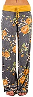 Famulily Women's Comfy Soft Stretch Wide Leg Floral/Polka Floral Print Palazzo Pajama Pants Lounge