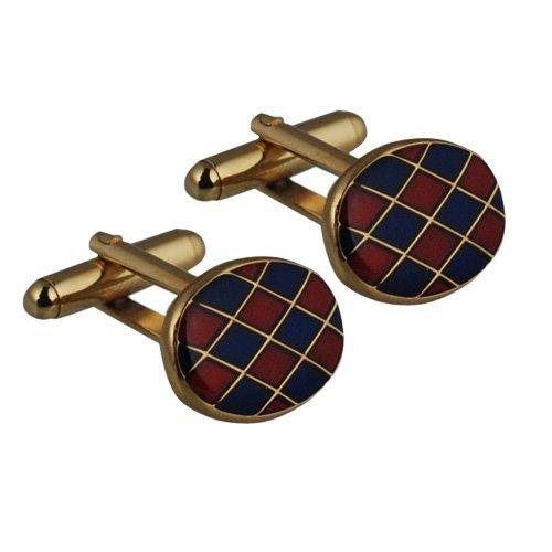 British Jewellery Workshops Boutons de Manchette plaqué Or Dur émail pivotantes 13x19mm Ovale Harlequin
