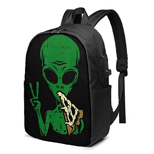 Hdadwy Alien Pizza Eating Peace USB Backpack 17 Inch Shoulder Bag Laptop Bag Fashion Rucksack