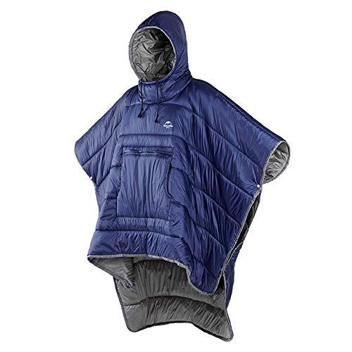 Tentock Unisex Winterponcho mit Kapuze Warmer Decken Kapuzenpullover Ultraleichter Schlafsack Wasserdicht Kleine Steppdecke für Outdoor Camping Wandern(blau)