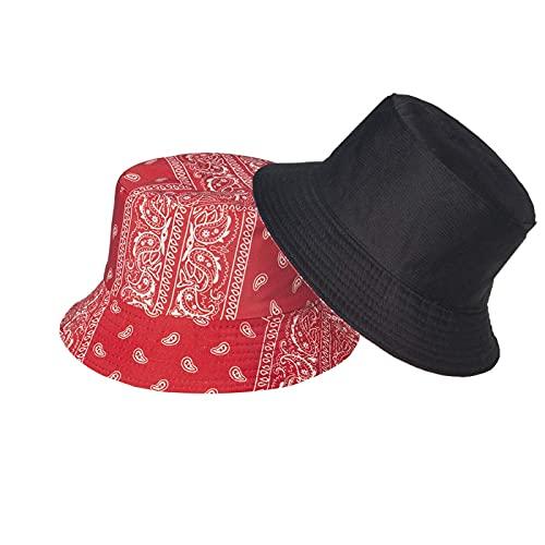 Bucket Hats for Women, Summer Print Double-Side-Wear Fishing Hats Outdoor Beach Caps (Red)