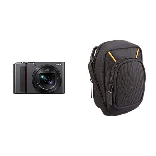 Panasonic LUMIX DC-TZ202EG-S Travelzoom Kamera (1-Zoll Sensor, 15x Opt. Zoom, Leica Objektiv, Sucher, 4K, Silber) & Amazon Basics Kameratasche für Kompaktkameras, groß