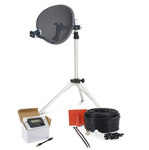 SSL Satellites Portable Satellite 80cm Dish Kit Camping Tailgating with Quad Tripod & Sat Finder 30M...