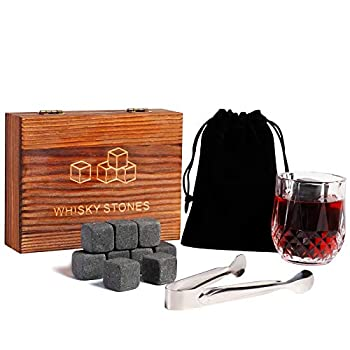 GENNISSY Whiskey Stones Gift Set,9 Granite Whiskey Rocks Reusable Chilling Stones in Wooden Box,Velvet Freezing Bag and Tong Included,Bar Accessories Whisky Gifts for Men