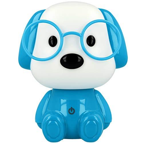 Westcott Lightbuddies Lampe Hund Hugo, LED-Nachtlicht für Kinder mit Akku & USB-Ladekabel, dimmbar, blau weiß, E-88003 00