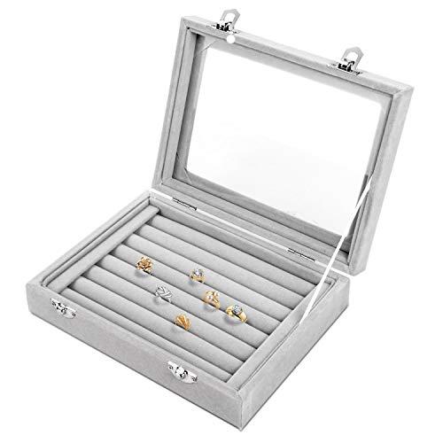 Lavcus Caja de Joyeria Joyero Organizador con Espejo Soporte de Terciopelo para Pendientes Anillos, Aretes, Colgantes y Gemelos, 20x15x4.5cm (Gris)