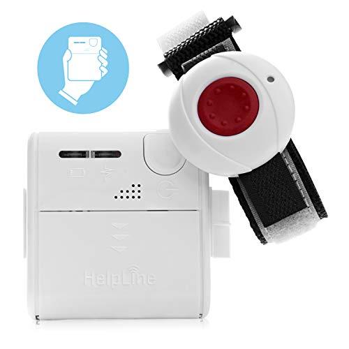 Helpline Mini: Kleiner mobiler Hausnotruf mit wasserdichtem Notrufarmband und Gürtel Clip für die häusliche Pflege; Notrufsystem mit Funk Notruf Armband; Notrufknopf für Senioren; Pflegeruf Set