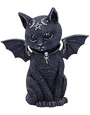Nemesis Now Malpuss Winged Occulte kat, polyhars, zwart en zilver, 10 cm