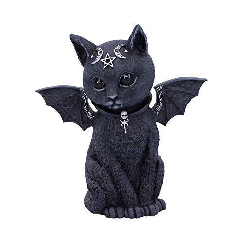 Nemesis Now Malpuss Winged Okkulte Katze, Polyresin, schwarz und Silber, 10 cm