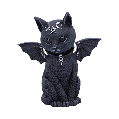 Nemesis Now Malpuss - Figura de Gato Oculto con alas, polirresina, Negro y Plata, 10 cm