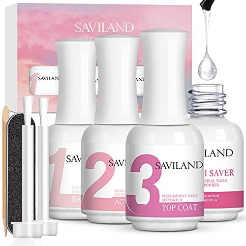 Saviland Dipping Powder Liquid Set - Dip Powder Activator Base Top Coat and Brushsaver 4pcs 0.5oz for Dip Powder Nail Kit