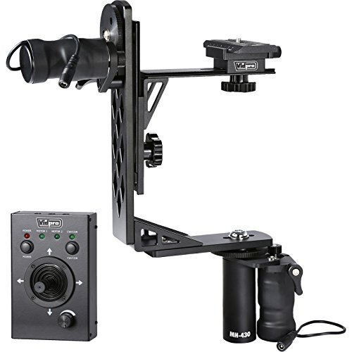 Vidpro MH-430 Motorized Pan & Tilt Gimbal Head - Complete Set Includes Joystick Cables Adapter and Carrying Case - Remote Control Pan Tilt and Rotate DLSR Camcorder Video Equipment Compatible