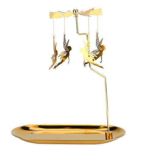 Maxjaa - Portacandele rotante, in metallo dorato, con angeli volanti, portacandele romantico design scandinavo, ornamento per matrimoni, feste, Natale, decorazioni per la casa, altezza 17,9 cm