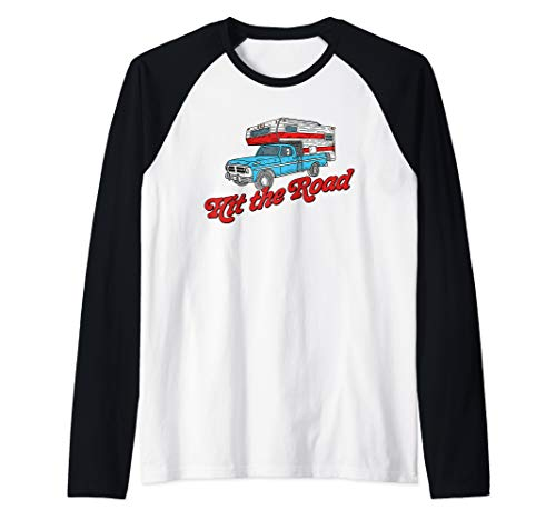 Hit the Road - Vintage Truck Bed Camper Retro Camping Raglan Baseball Tee