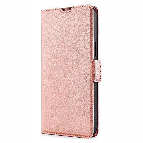 NEINEI Handyhülle für LG Velvet 4G/5G,Premium Leder PU Cover Wallet Lederhülle mit [Magnetisch][Kartenschlitz][Minimalismus],Klapphülle Tasche Flip Phone Hülle,Rosé Gold