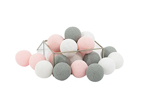 CHAINUPON 20 Cotton Ball String Fairy Night Lights LED Kid Children Bedroom,Home,Decor,Boys Girls Plug in Mains powered (20 Lights, Gray Pink)