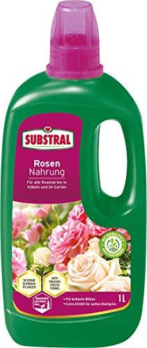 Substral Rosendünger, Flüssigdünger mit Extra Eisen, für alle Rosen auf Balkon oder Terrasse, 1l