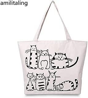 Gimax Top-Handle Bags - New Cartoon Cats Printed Canvas Handbag Shopping Tote Shoulder Bag Purse yey-8068 - (Color: White)