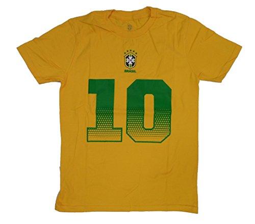 Outerstuff Brazil Soccer Youth Gold Neymar Jr. Name and Number Jersey T-Shirt Medium 10-12