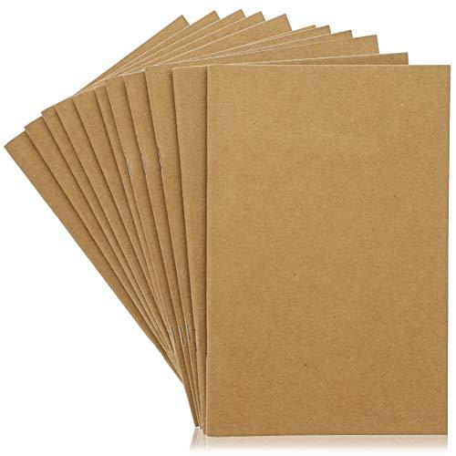 Kraft Notebook - onbegrensde blanco boeken, onbegrensde gewone reistijdschriften voor studenten, school, kinderschrijfboeken, klassenprojecten, bruin, 24 vellen per stuk 24-Pack BRON